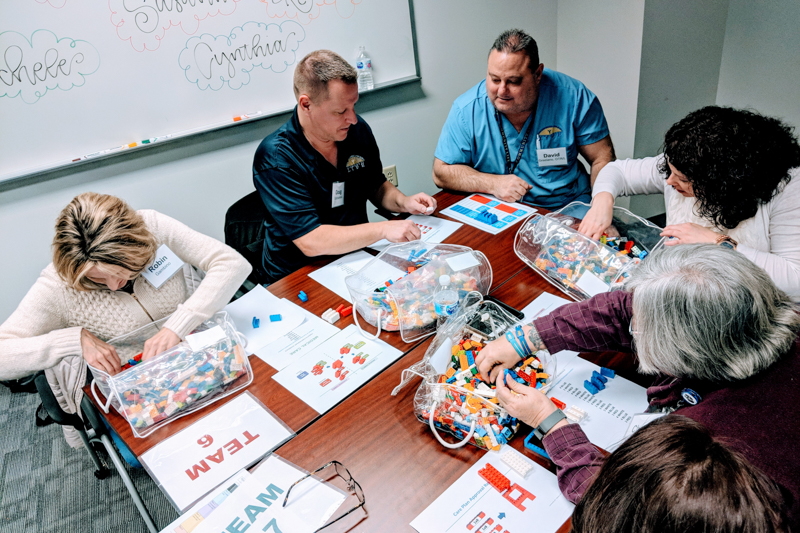 Demonstrating systematic problem-solving principles of PPC/Lean, Community LIFE teams participate in a hands-on Lego activity.