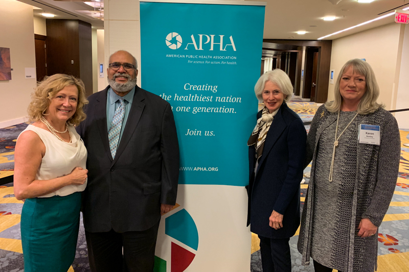 From left to right: Lisa Simpson, president and CEO of AcademyHealth; Georges Benjamin, MD, executive director of APHA; Karen Feinstein; Karen Remley, senior fellow at the de Beaumont Foundation.