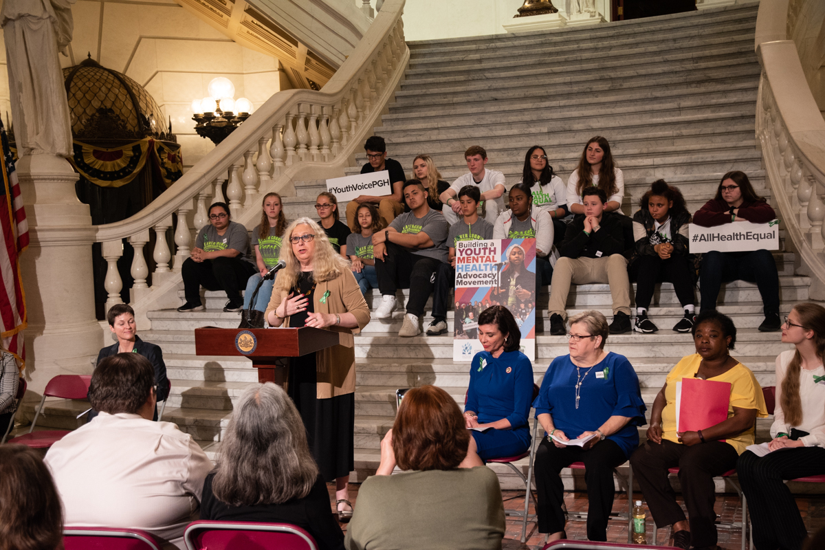 Department of Health Secretary Rachel Levine, MD addresses the crowd in the Capitol Rotunda at the Mental Health Awareness Day Celebration