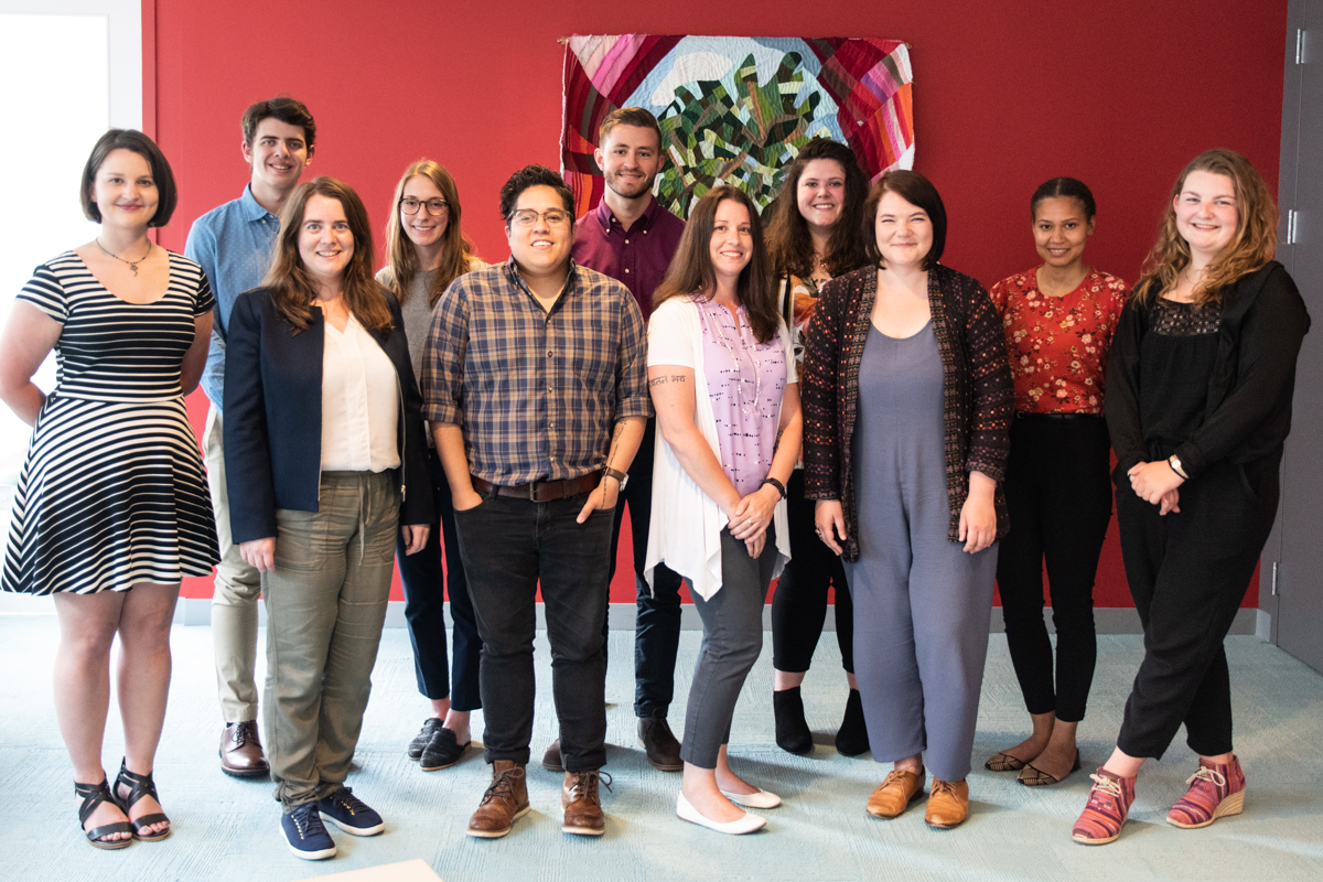 Photo of the 2019 Summer Interns (from left to right): Sarah Morgan, Andrew Fingeret, Corina Paraschiv, Janelle DeBaldo, Cindy Vincente, Kyle Terrill, Adele Flaherty, Kyla Christensen, Elizabeth Balskus, Kandis Mason, and Diane Smith.