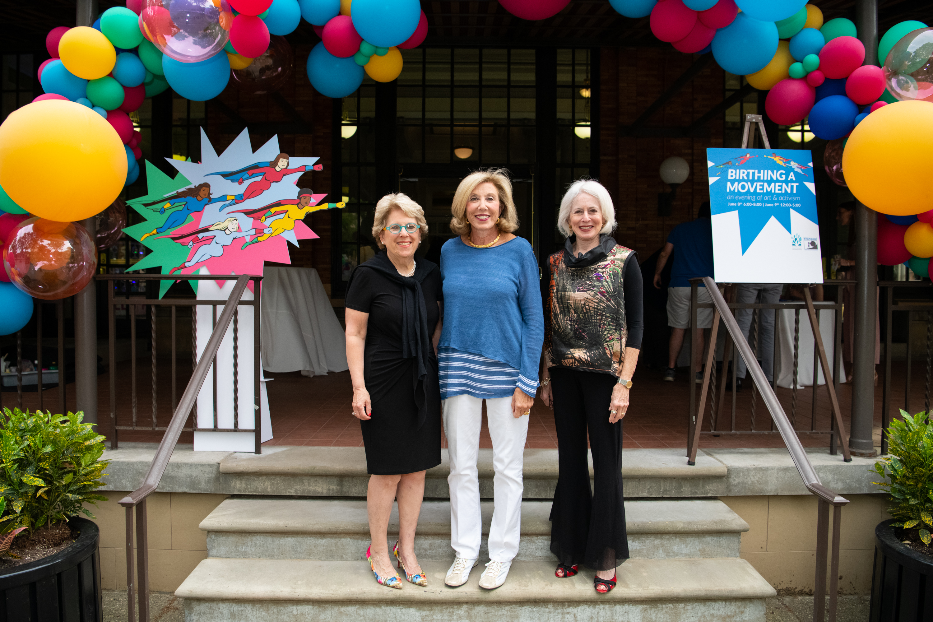 Debra L. Caplan, MPA; Patricia L. Siger; and Karen Wolk Feinstein, PhD out front of Birthing A Movement on Saturday, June 8.