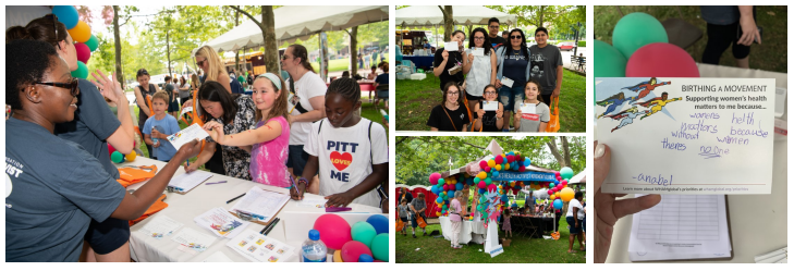 "(left) Families talk to WHAMglobal staff at the Summer Reading Extravaganza; (top middle) Families displaying their advocacy cards; (bottom middle) the Birthing A Movement tent; (right) ""women's health matters because without women there's no one."""