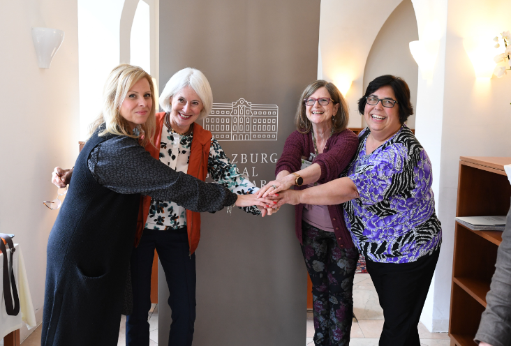Karen Wolk Feinstein (second from left) with Mary-anne D'Arpino, Doris Grinspun, and Gina DeSouza of the forum's Australian contingent. Photo courtesy of Herman Seidel.