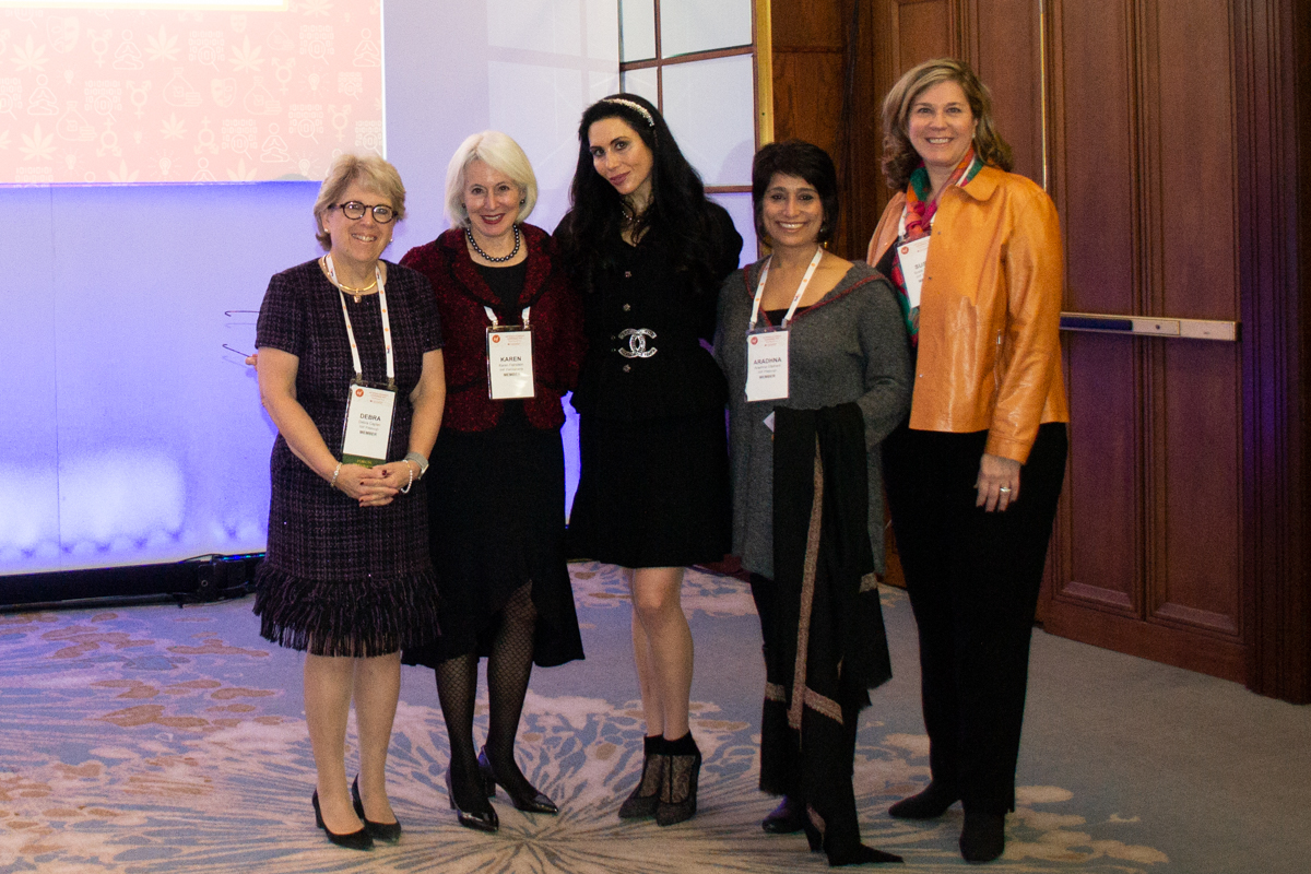 Debra Caplan, Karen Feinstein, Jennifer Pearlman, Aradhna Oliphant, and Susie Shipley at the IWF Conference.