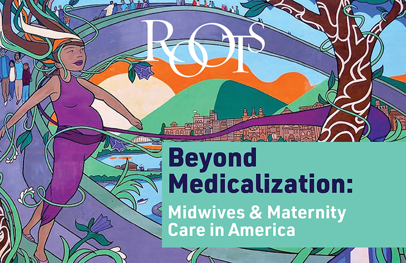 Roots cover showing an illustration of a pregnant person and the title Beyond Medicalization: Midwives and Maternity Care in America