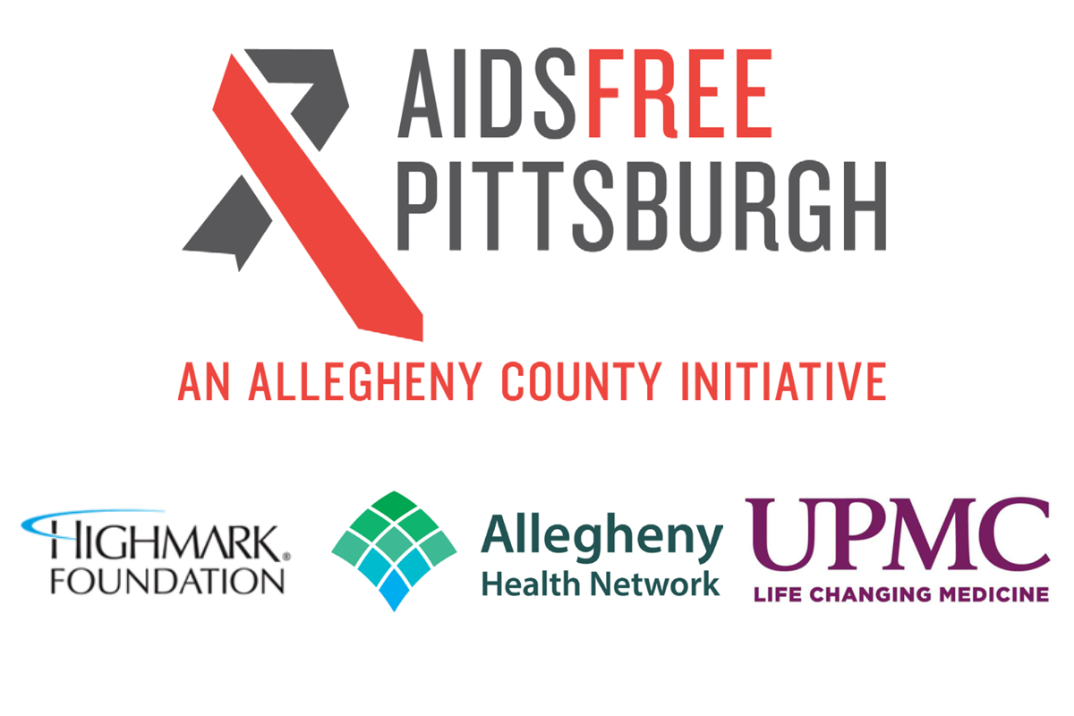 Logos for AIDS Free Pittsburgh, UPMC, Allegheny Health Network, and the Highmark Foundation